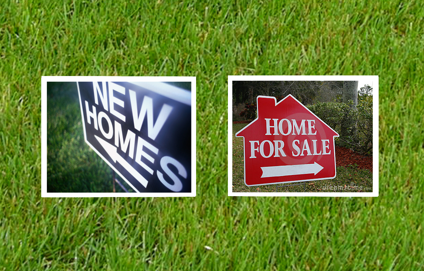 two snapshots over grass that read - NEW HOMES - and - HOME FOR SALE -