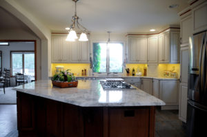 A recent kitchen renovation project showcasing an island and custom cabinetry from a contractor