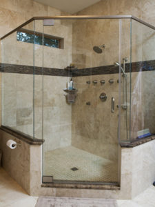large glass walk in shower