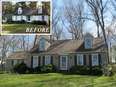 before & after home exterior project photos showing updated siding and more