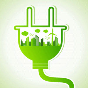 green power plug clip art with skyline and windmill inside it
