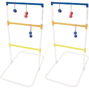 two ladder golf stands with game balls hanging