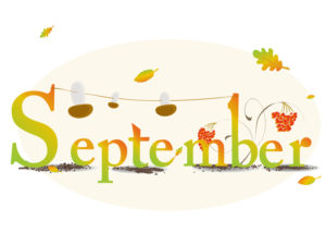 sign that reads september and has various fall decor clip art