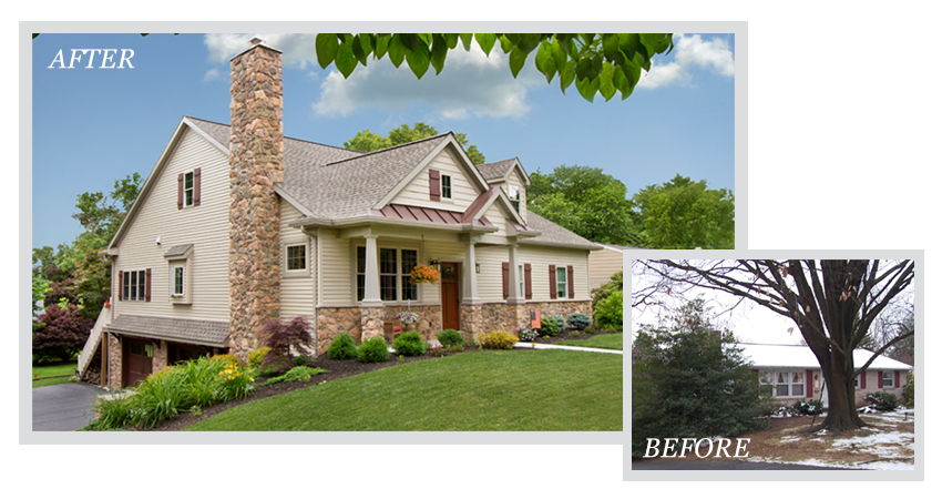 before and after photos of a home remodeling project - exterior view