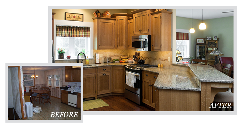 before & after photos of a kitchen remodel