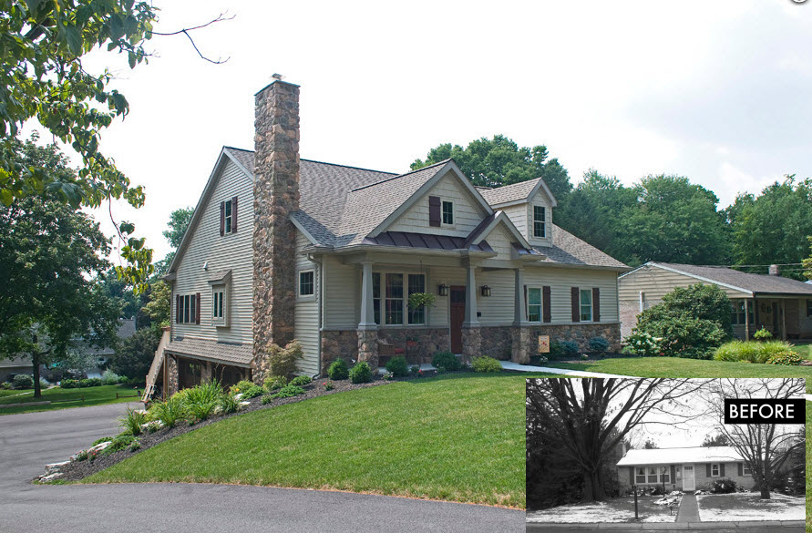 before and after photo of a home exterior