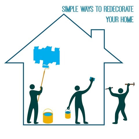 """3 stick figures painting a 2d home outline with the words """"simple ways to redecorate your home"""" above it"""