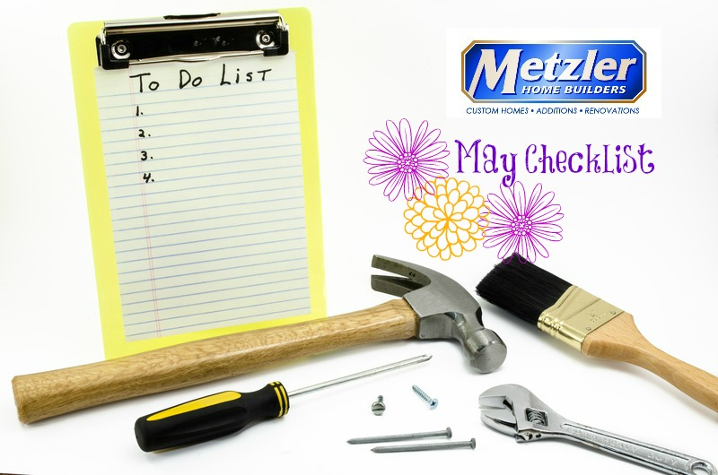 """empty to do list with various tools and the metzler home builder logo above """"May Checklist"""""""