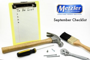 """empty to do list with various tools and the metzler home builders logo over """"September Checklist"""""""