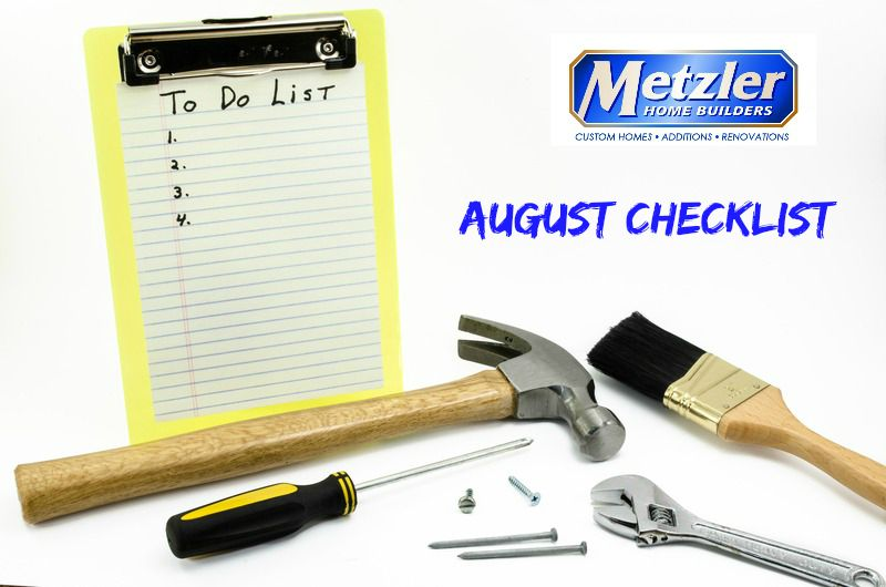 august to do list with various tools and the metzler logo around it