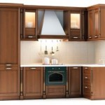 kitchen corner area with brown cabinets