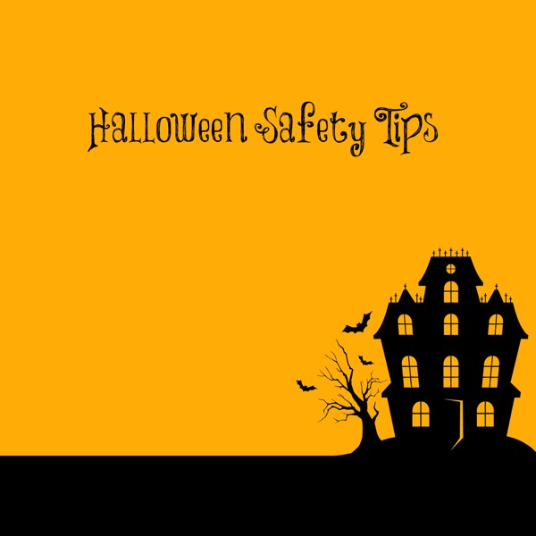 halloween themed clipart with the words halloween safety tips overlaid