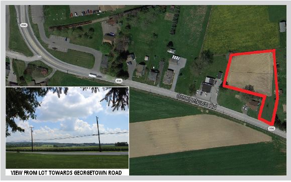overhead view & outline of 1 Acre Country Lot on Georgetown Road, Strasburg Township