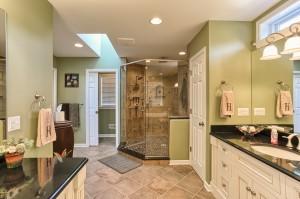 metallic bathroom with large walk-in shower