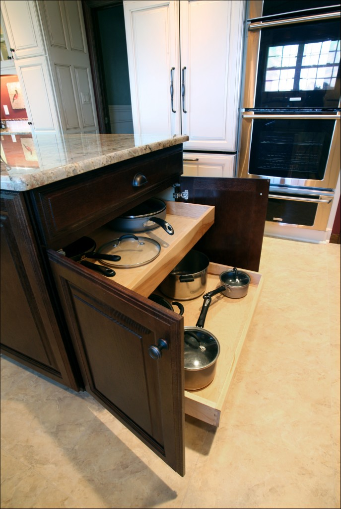 pull out shelves inside kitchen island