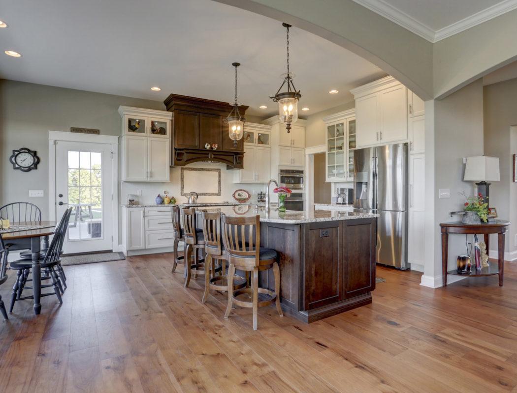 custom kitchen and island seating area