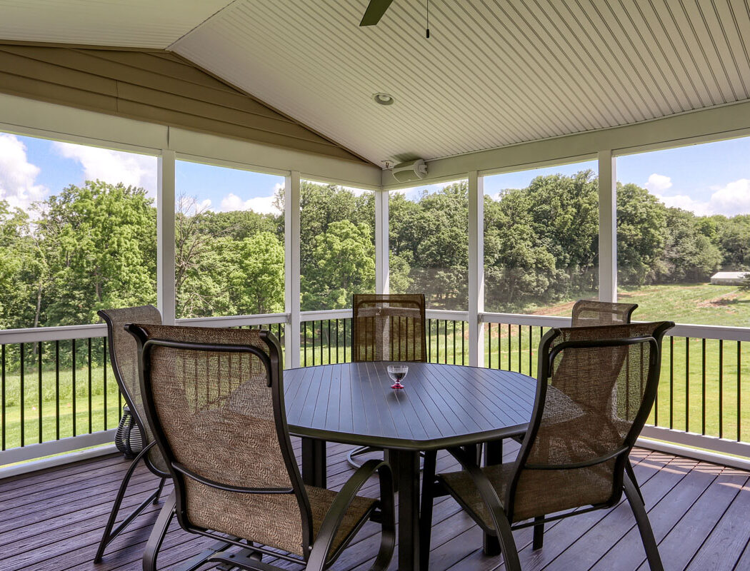 screened in outdoor living area