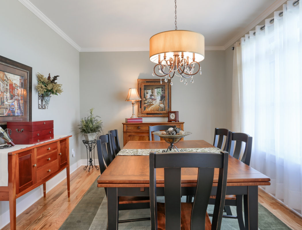 dining room with large window