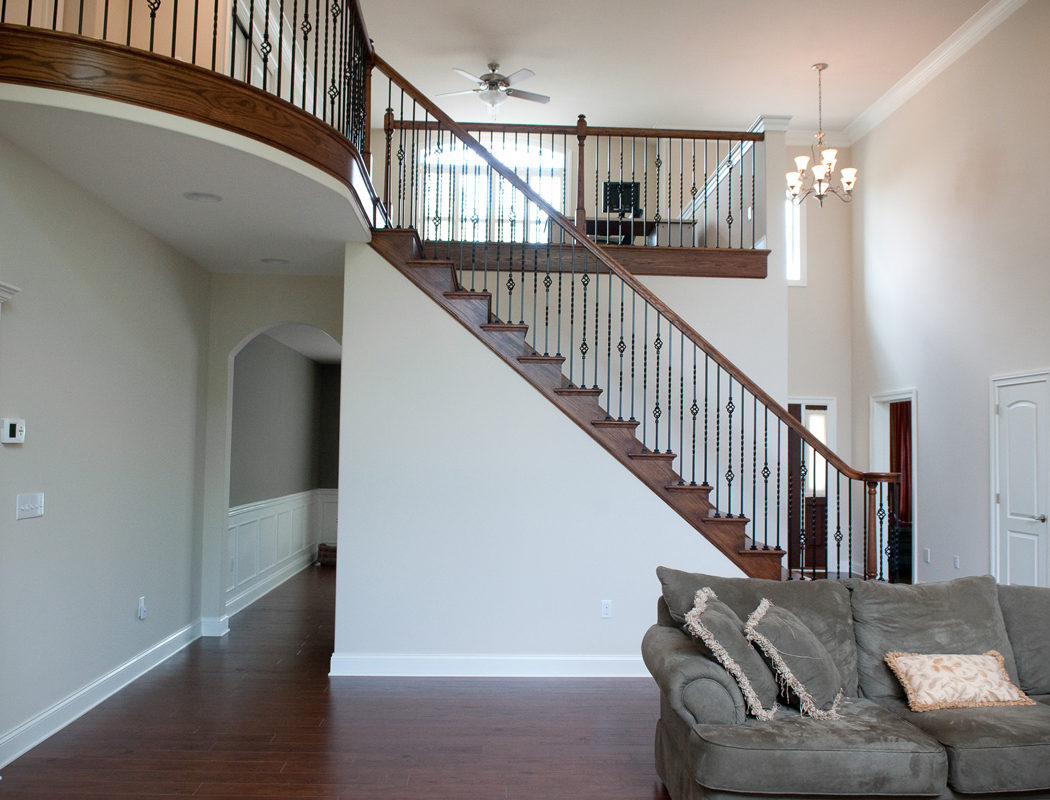 custom staircase in living room