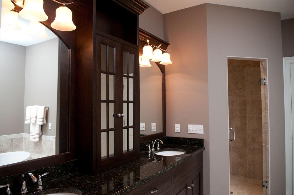 his/her vanities in a custom bathroom
