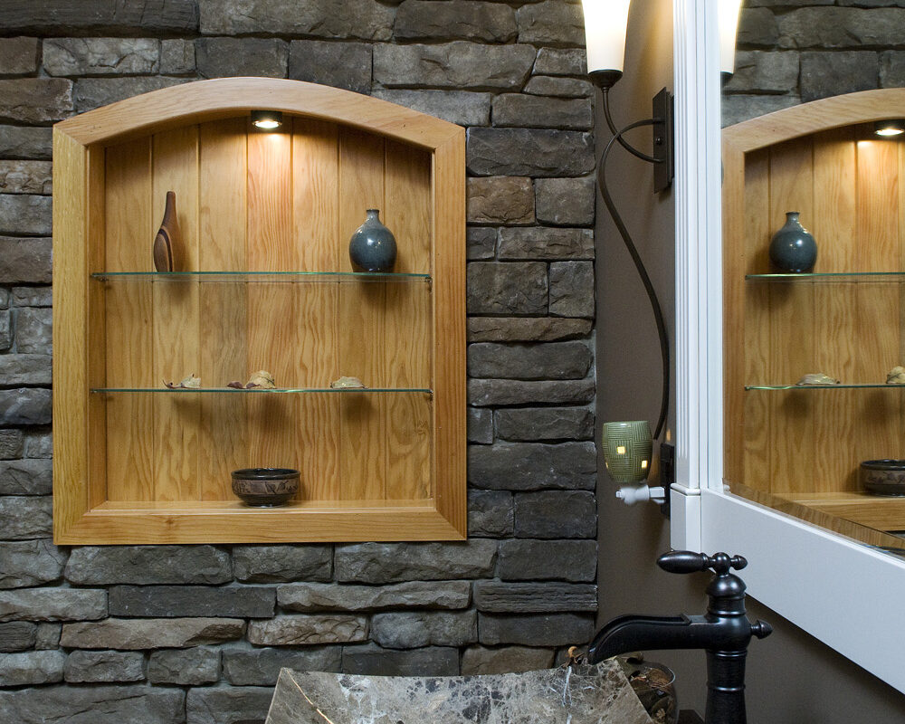 custom sink with stone wall work