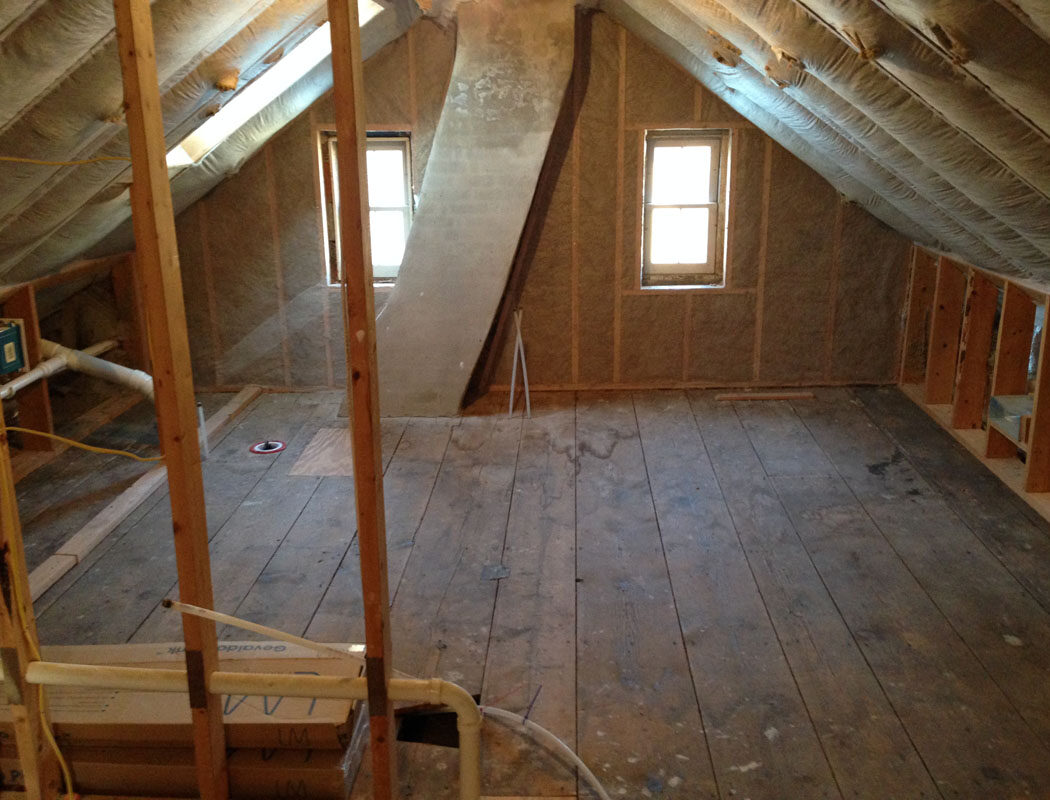 before photo of an attic