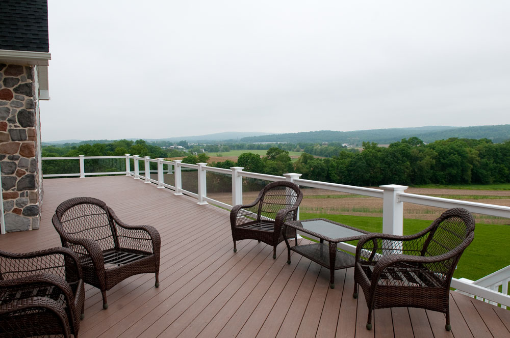 back deck overlooking farmland