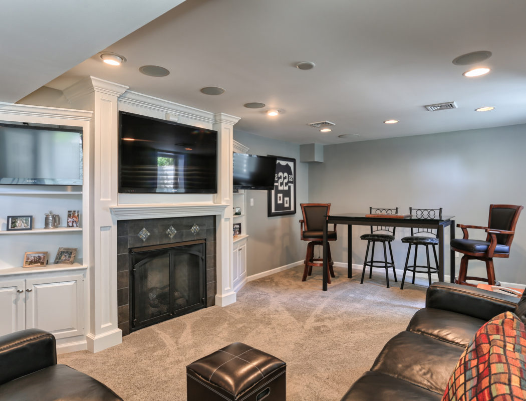 finished basement with fireplace