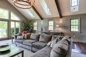vaulted ceiling family room with skylights