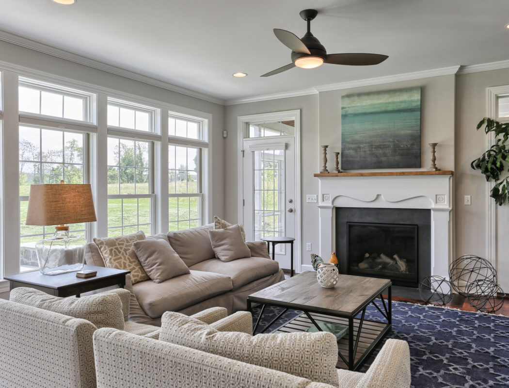 country farmhouse living room and fireplace
