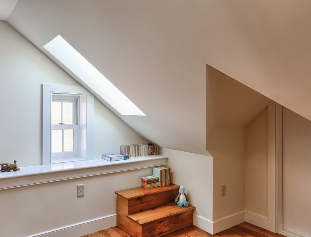 window seating area in an attic