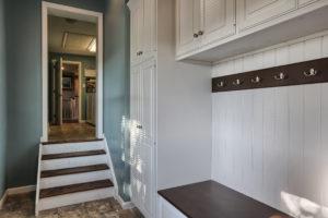 renovated childhood mud room stairs