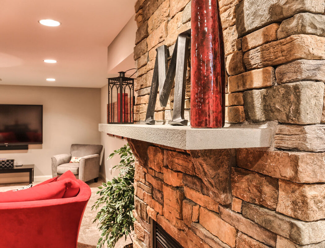a stone shelf installed in a basement renovation