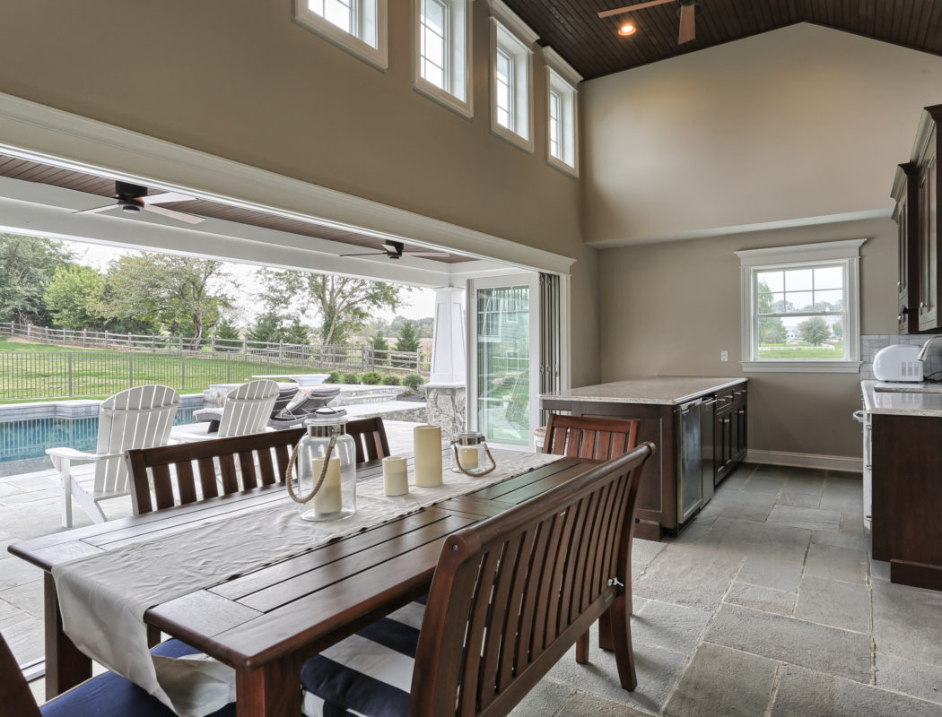 dining and kitchen area inside a pool house