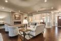 elegant living room and kitchen area