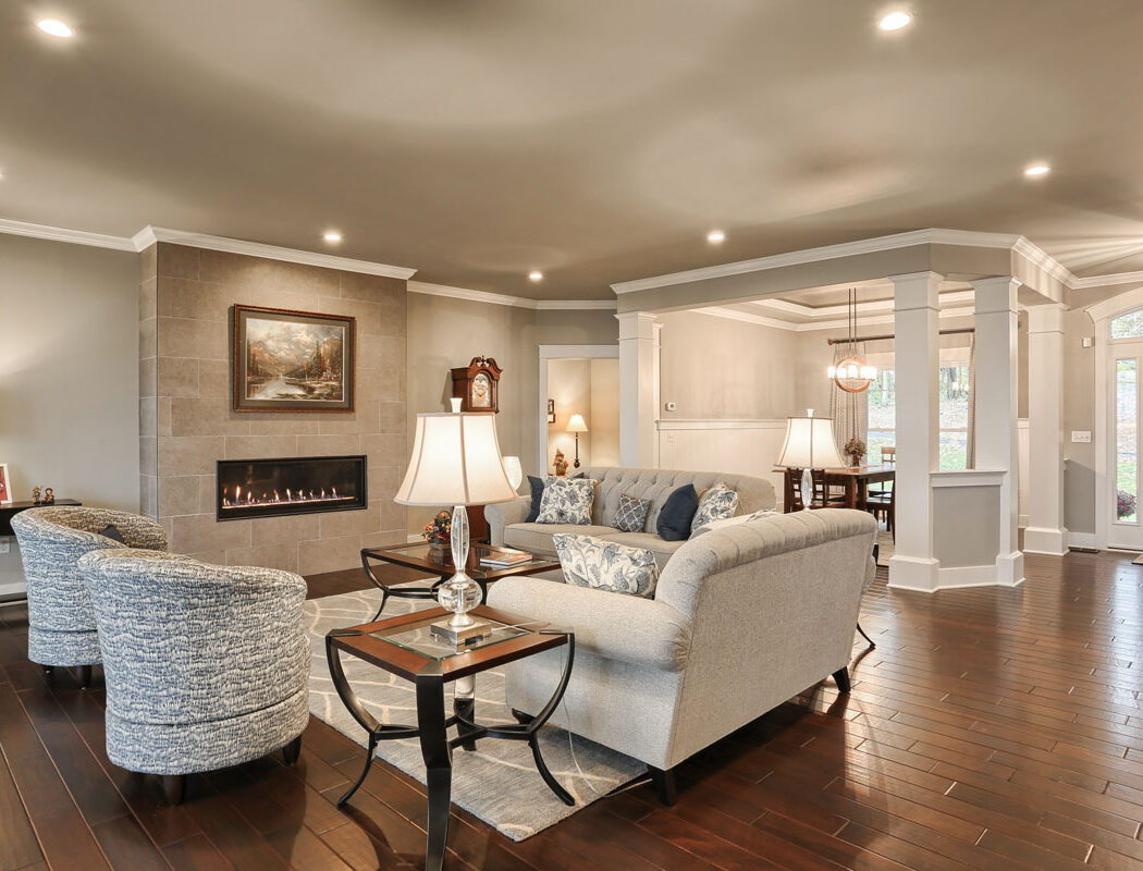 living room and fireplace area - Built by Metzler Home Builders