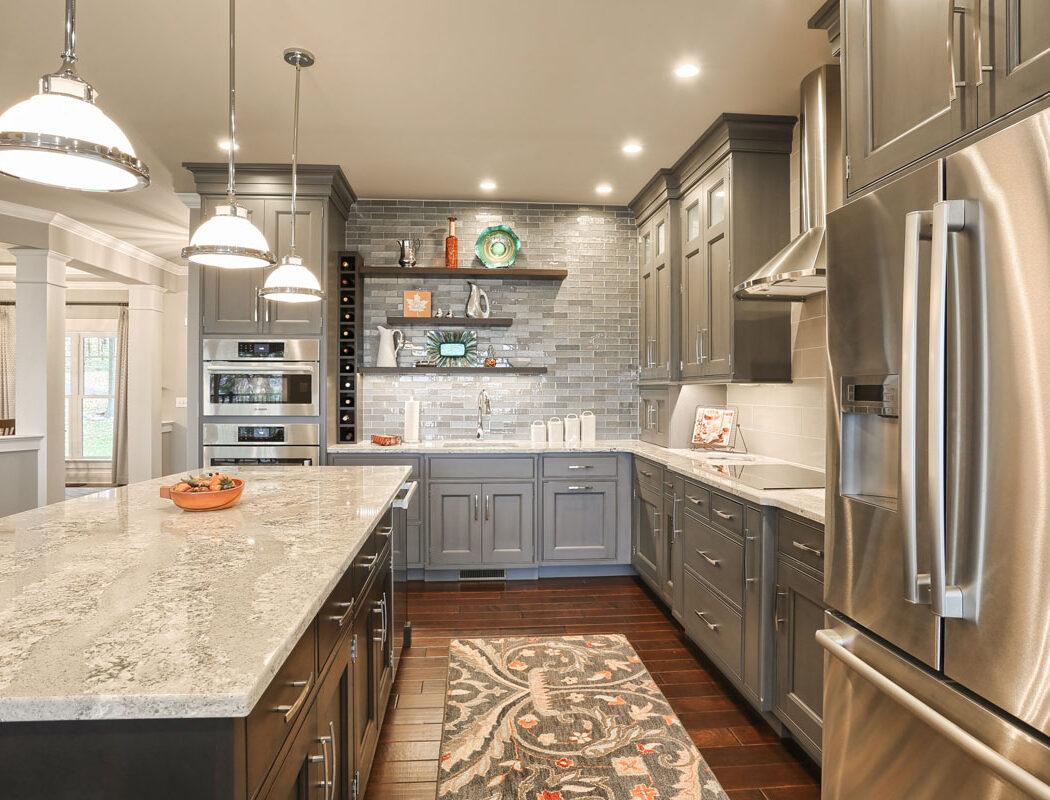 kitchen island and cabinets
