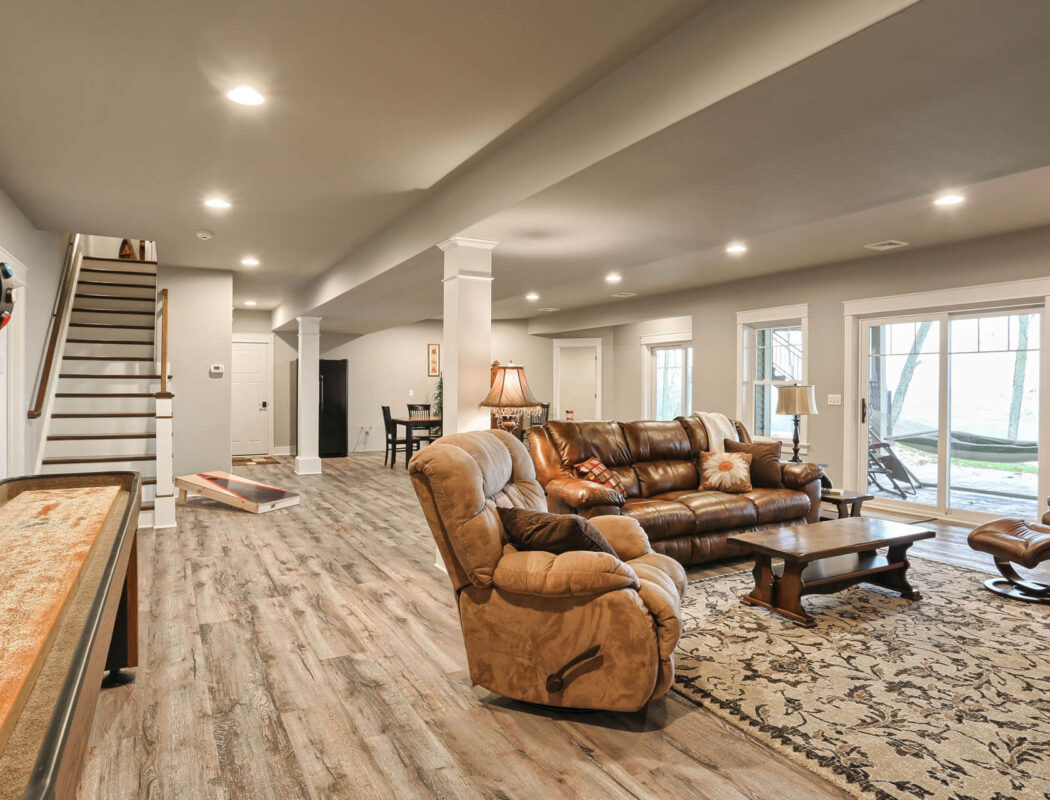 one story living finished basement