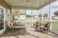 screened in porch with outdoor furniture