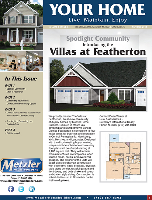 Metzler 'Your Home' Newsletter PDF cover for Volume 3 Issue 9