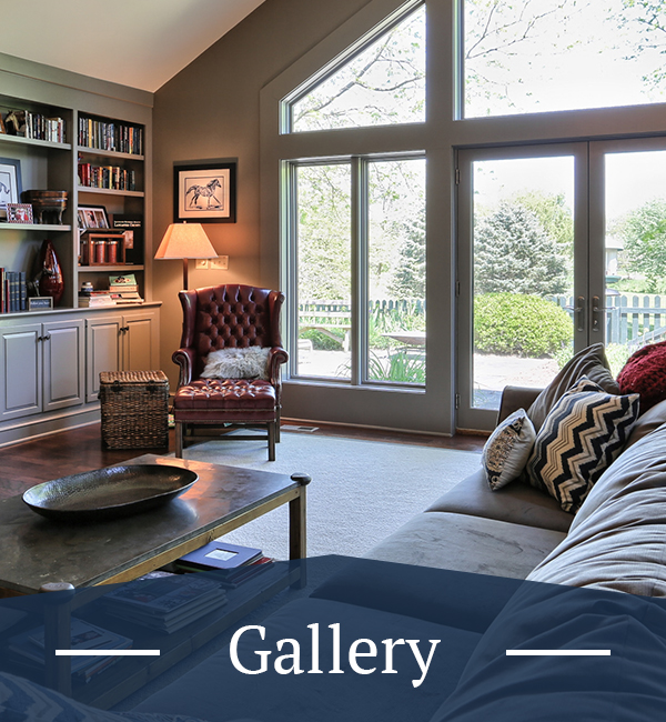 living room area with large windows and gallery text overlay
