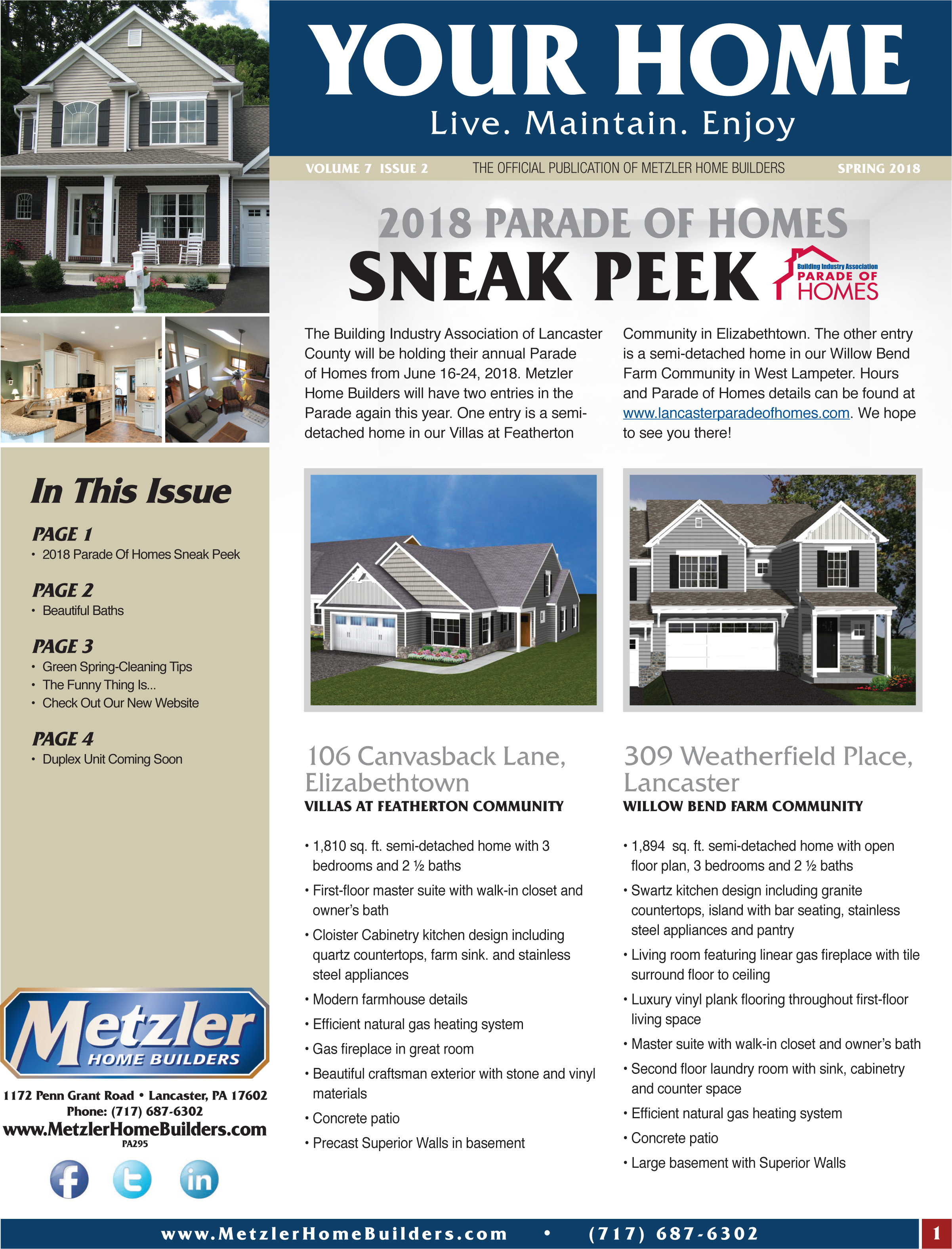 Metzler 'Your Home' Newsletter PDF cover for Volume 7 Issue 2