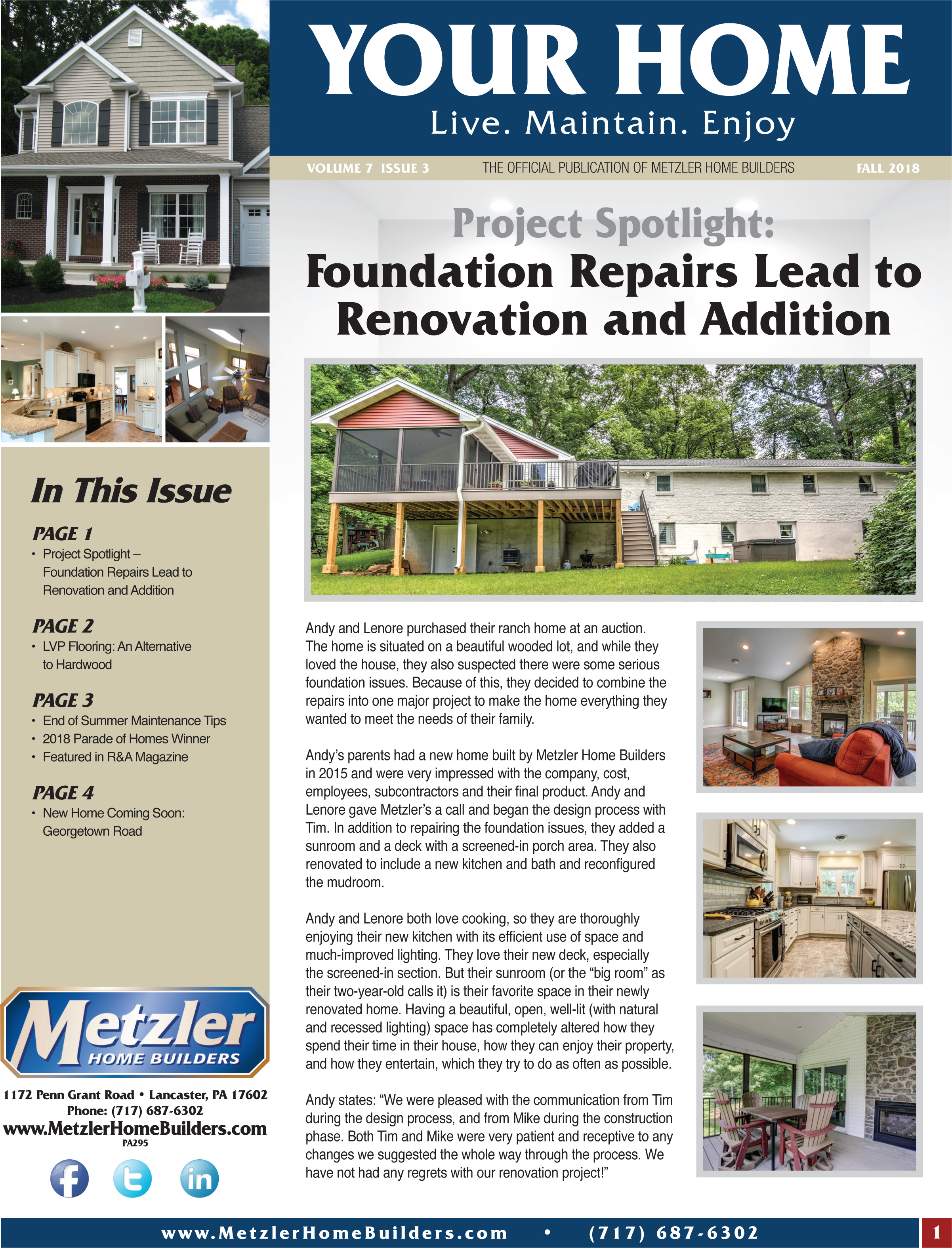 Metzler 'Your Home' Newsletter PDF cover for Volume 7 Issue 3