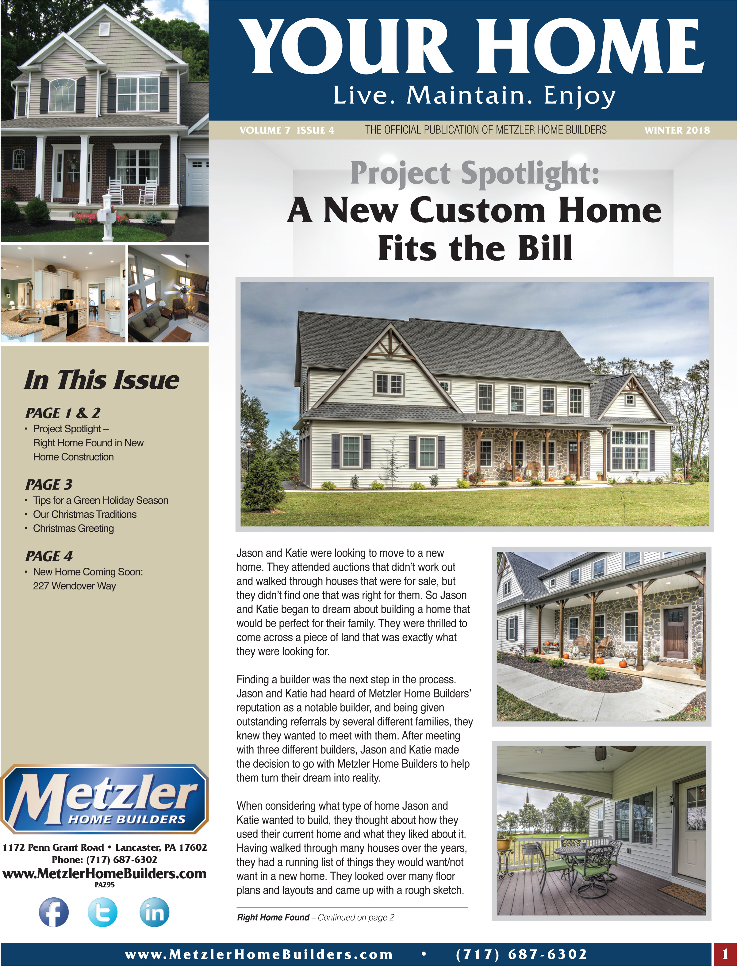 Metzler 'Your Home' Newsletter PDF cover for Volume 7 Issue 4