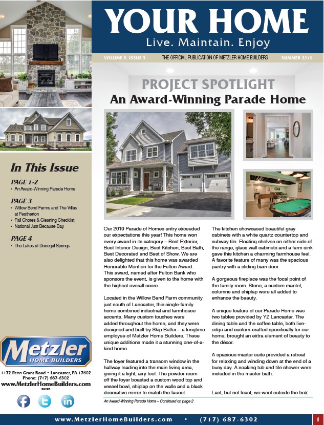 Metzler 'Your Home' Newsletter PDF cover for Volume 8 Issue 3
