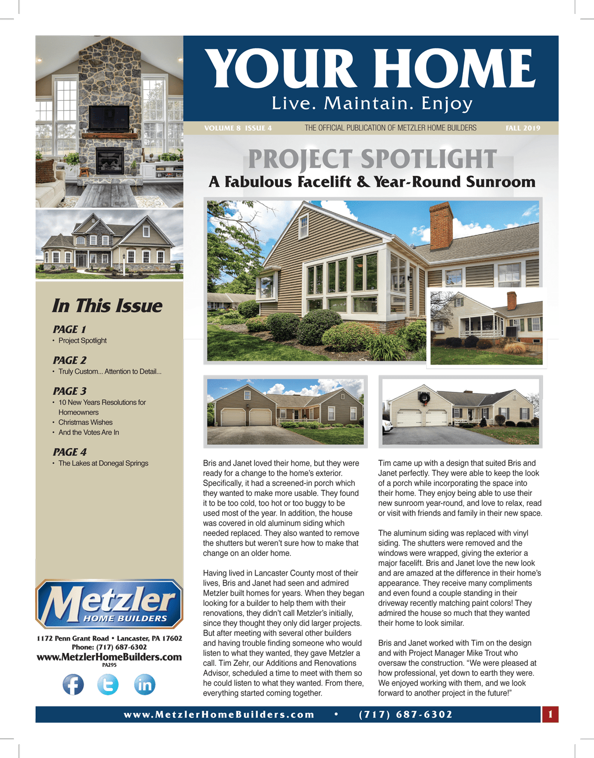 Metzler 'Your Home' Newsletter PDF cover for Volume 8 Issue 4