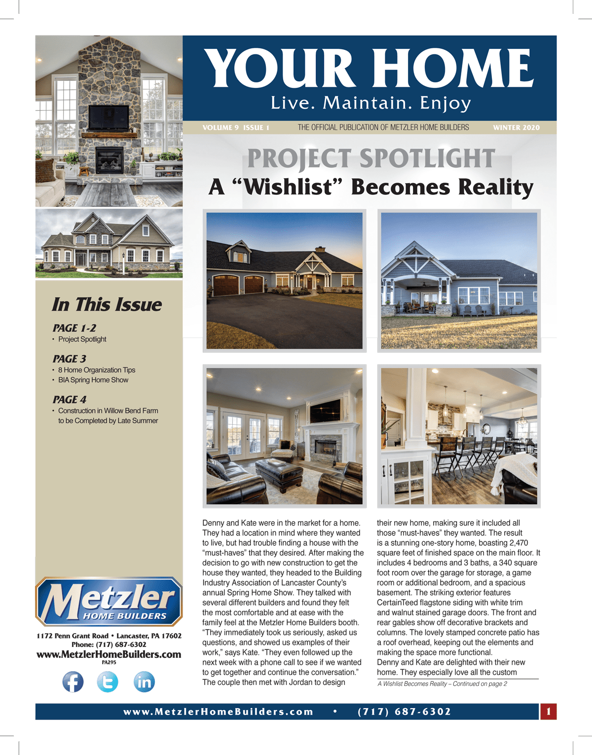 Metzler 'Your Home' Newsletter PDF cover for Volume 9 Issue 1