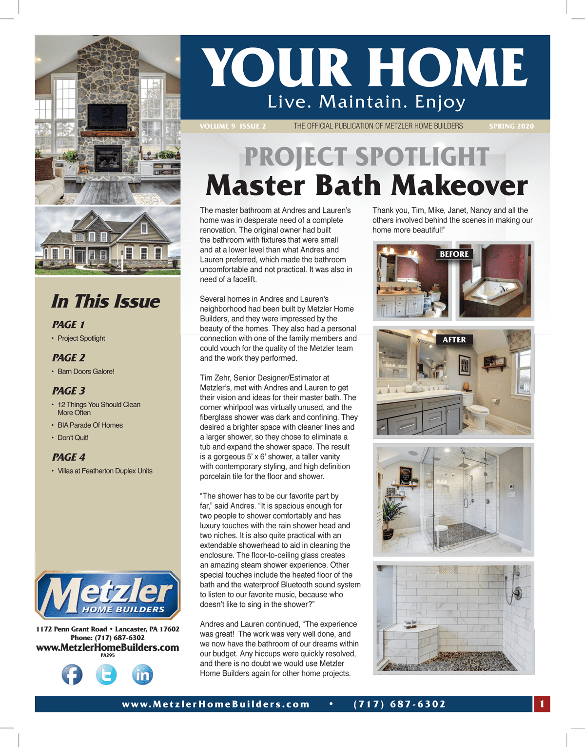 Metzler 'Your Home' Newsletter PDF cover for Volume 9 Issue 2