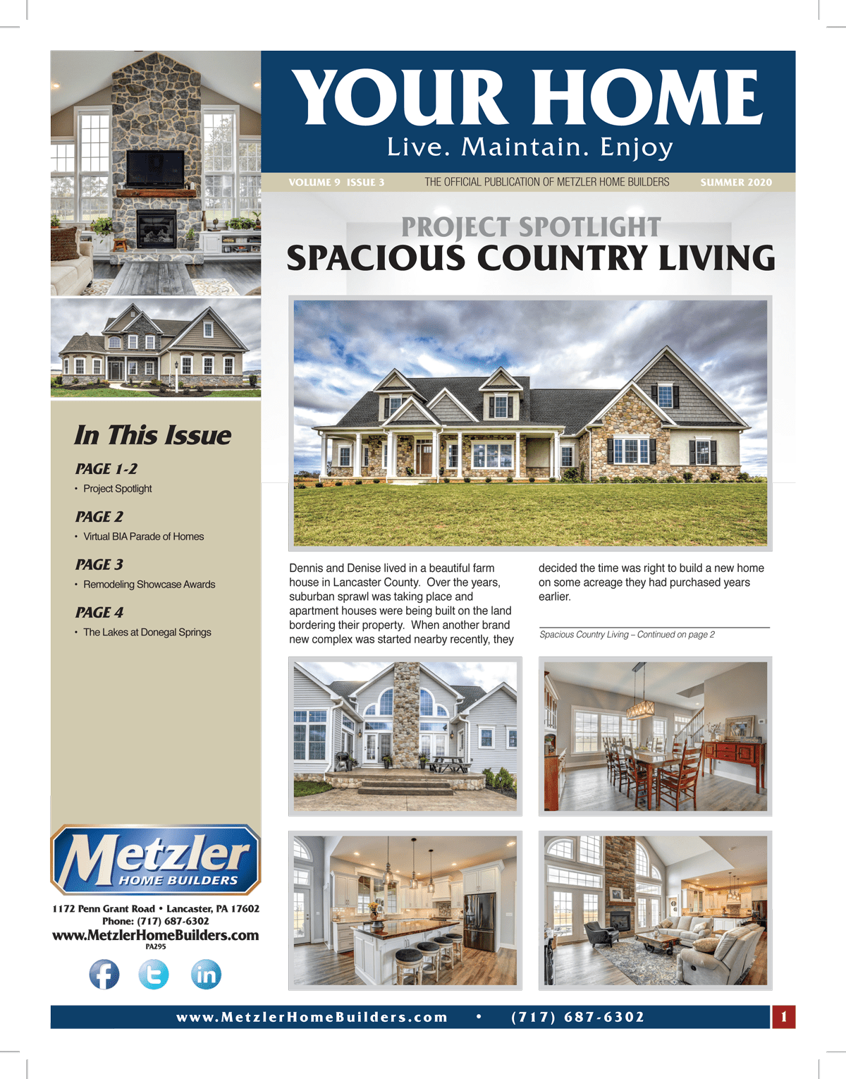 Metzler 'Your Home' Newsletter PDF cover for Volume 9 Issue 3