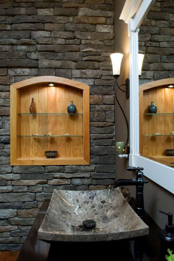 biophilic bathroom sink and shelves in wall